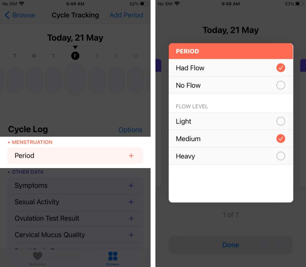 Select the kind of flow you had in cycle tracking on iPhone