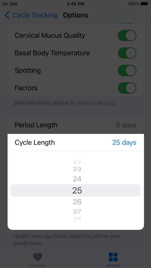 Tap Cycle Length and enter the amount of time in iPhone health app