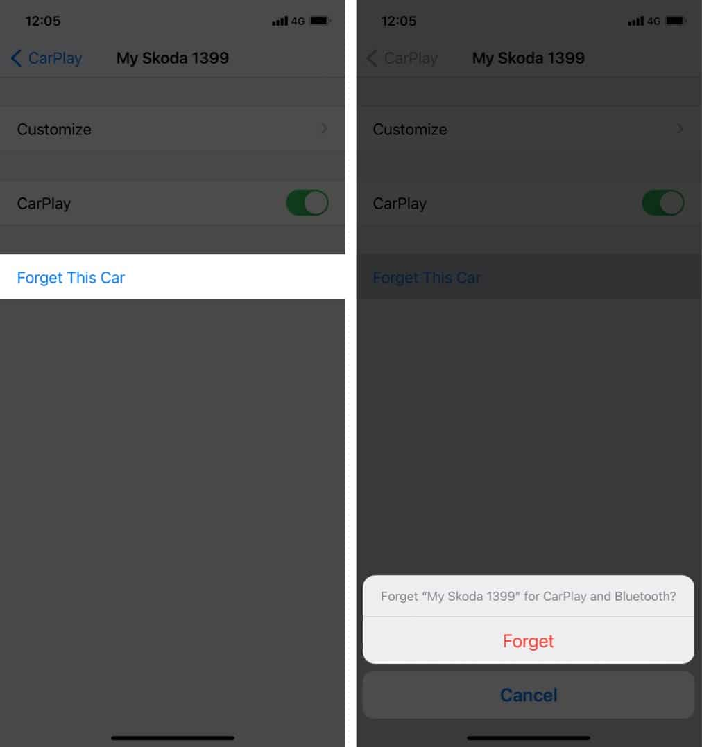 Tap the car you want to remove and click Forget to confirm on iPhone