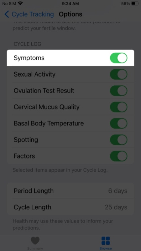 Toggle on Symptoms in health app on iPhone