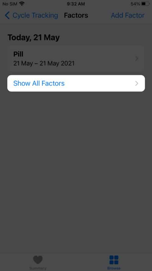View previous factor information in cycle tracking on iPhone