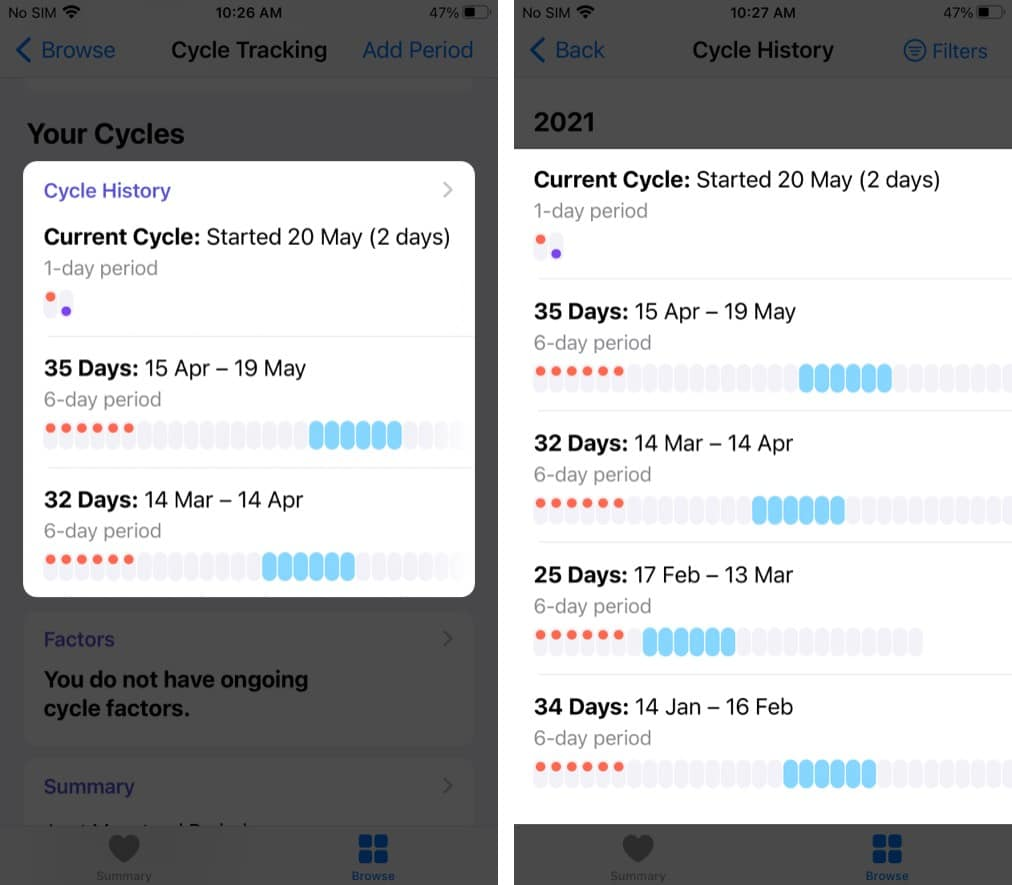 View your cycle history and statistics in the Health app