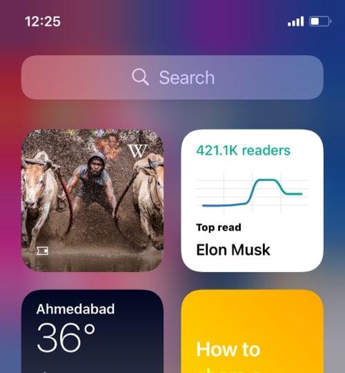 Wikipedia iOS 14 home screen widget