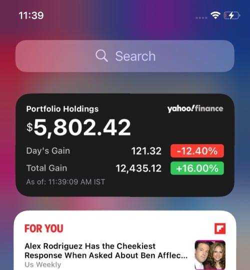 Yahoo Finance iOS 14 widget
