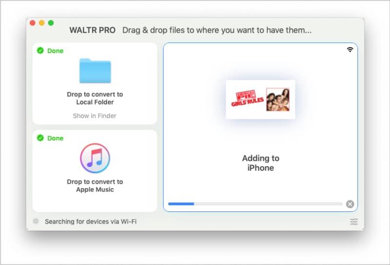 Nach dem Konvertieren von WALTR PRO Hinzufügen einer Datei zum iPhone