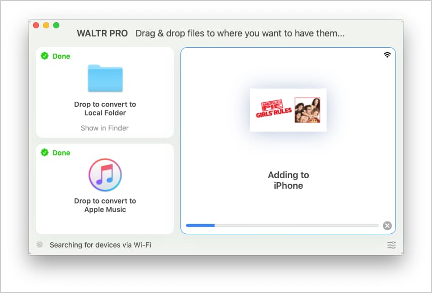 After converting WALTR PRO adding file to iPhone