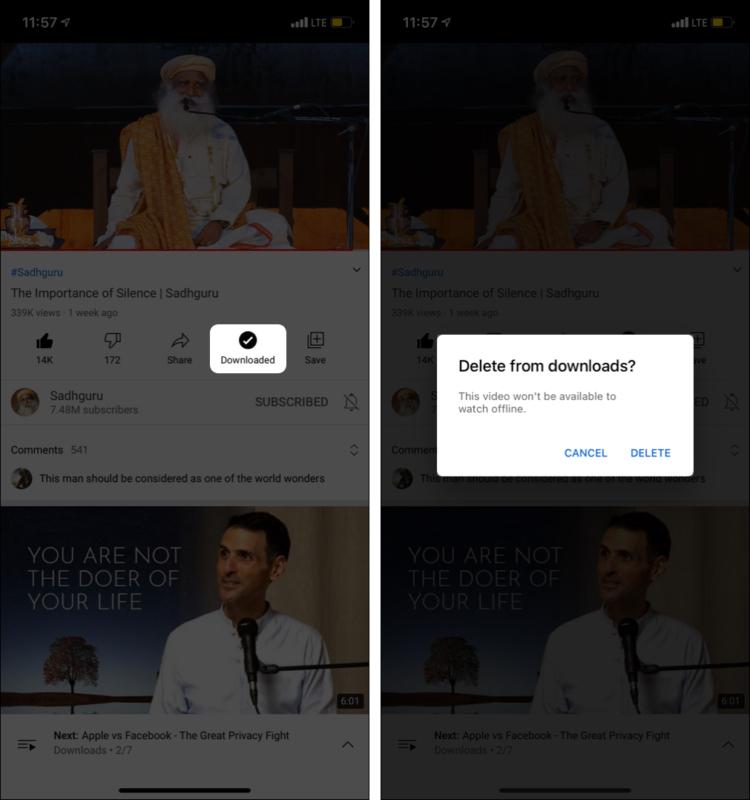 После просмотра офлайн-видео коснитесь «Загружено» и «УДАЛИТЬ».