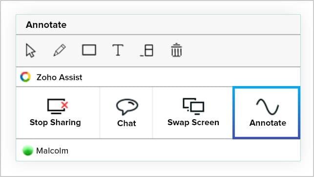 Anmerkungswerkzeuge während der Bildschirmfreigabe in Zoho Assist
