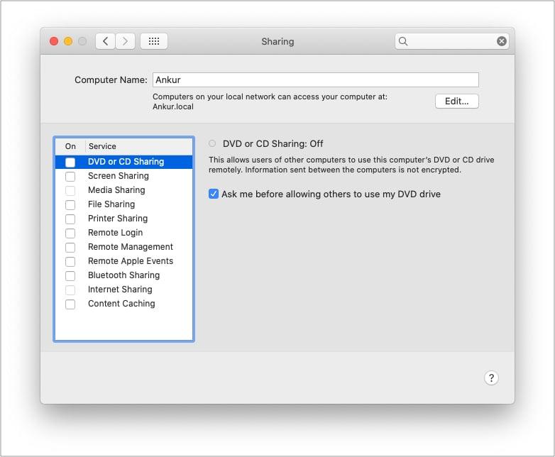 Снимите флажок с таких параметров общего доступа Mac, как принтер или жесткий диск.