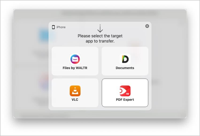 Choose desired iPhone app in WALTR PRO
