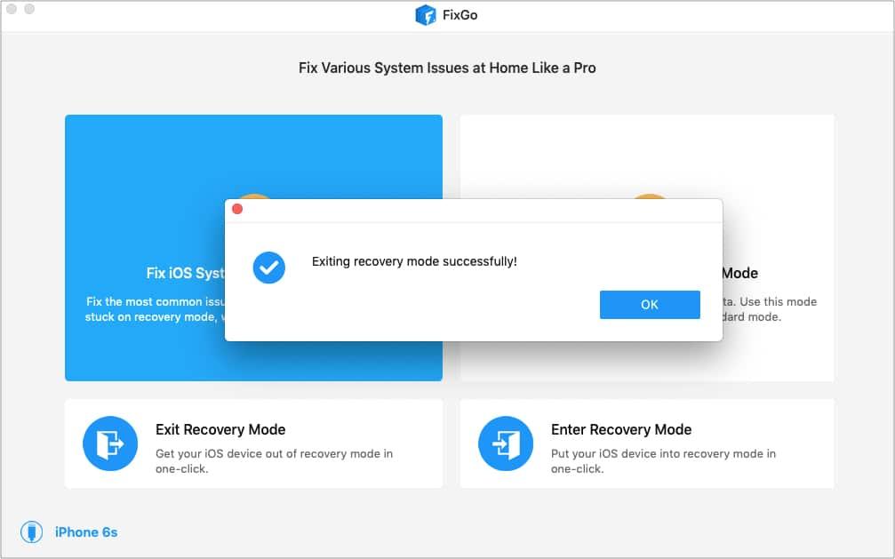 ClickExit Recovery Mode in FixGo