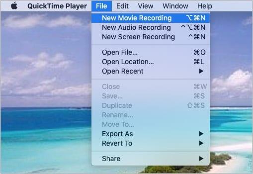 Klicken Sie auf Datei und wählen Sie Neue Filmaufnahme