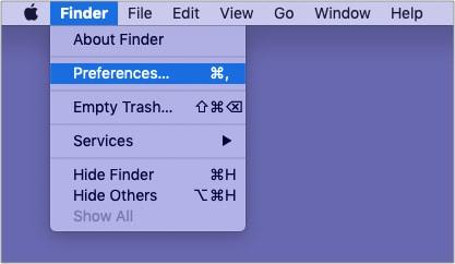 Нажмите Finder в верхней строке меню и выберите Finder Preferences.