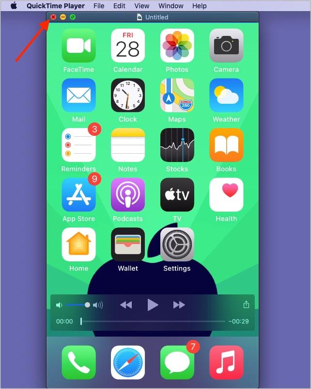 Klicken Sie auf die rote Schaltfläche zum Schließen, um die Bildschirmaufnahme zu speichern