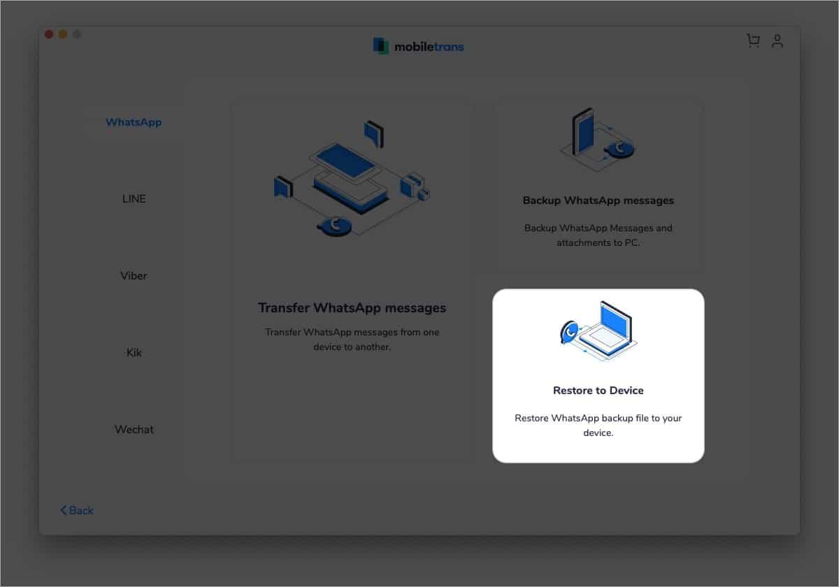 Click Restore to Device in MobileTrans