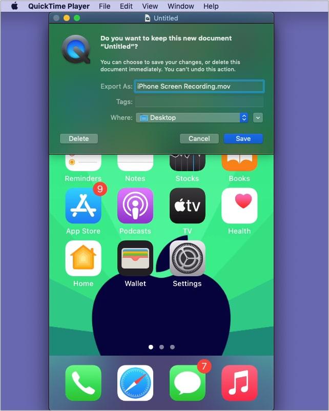 Klicken Sie auf Speichern, um die iPhone-Bildschirmaufnahme auf dem Mac zu speichern