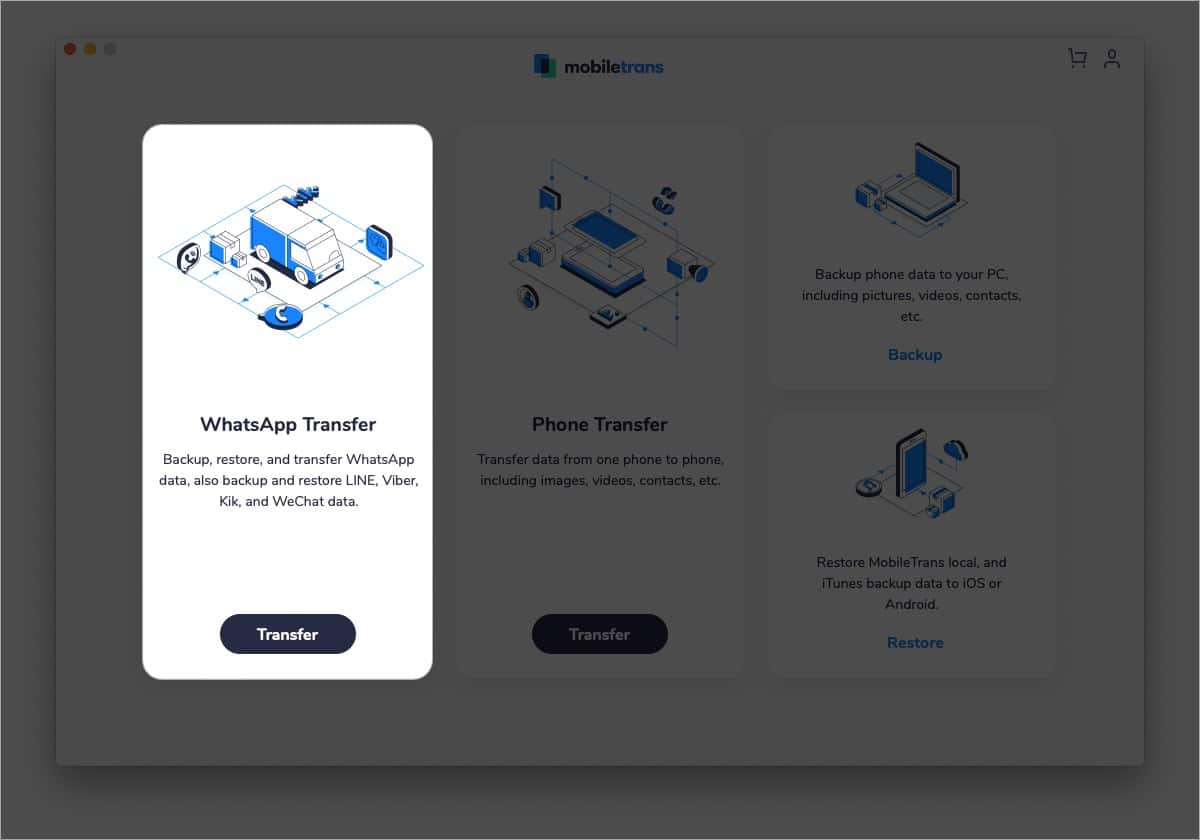 Click WhatsApp Transfer inside MobileTrans