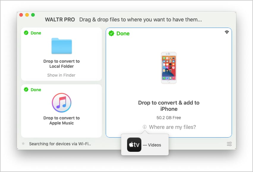 Click Where are my files in WALTR PRO to see app name