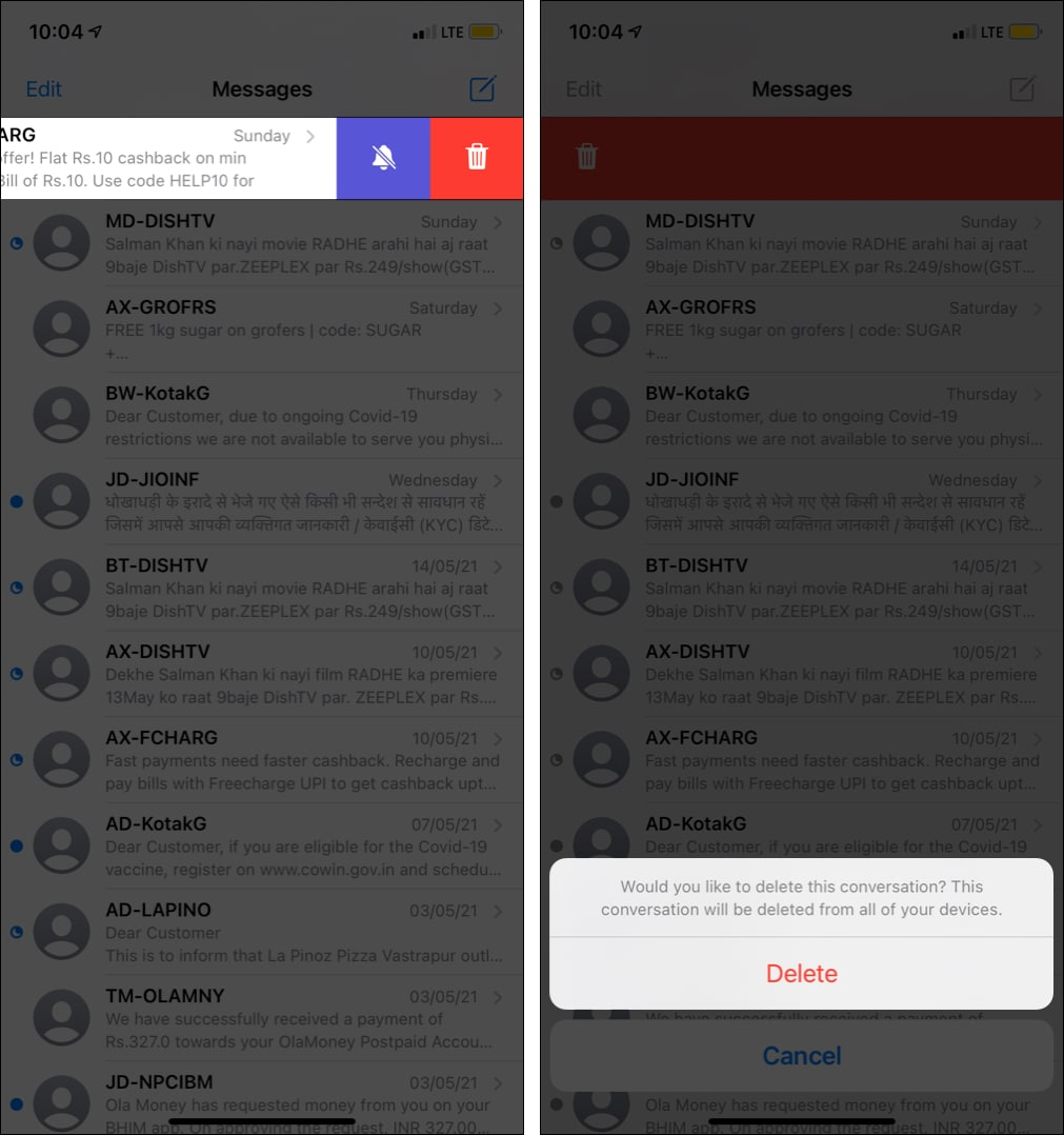 Löschen Sie iMessage-Konversationen auf dem iPhone