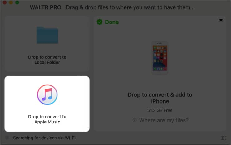 Drop to convert to Apple Music in WALTR PRO