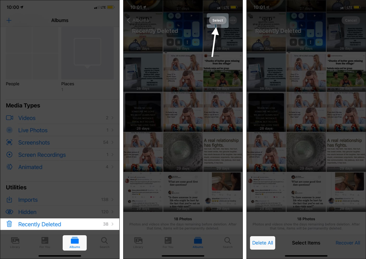 Leere Fotos App Zuletzt gelöschter Ordner