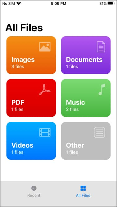 Files by WALTRapp running on iPhone