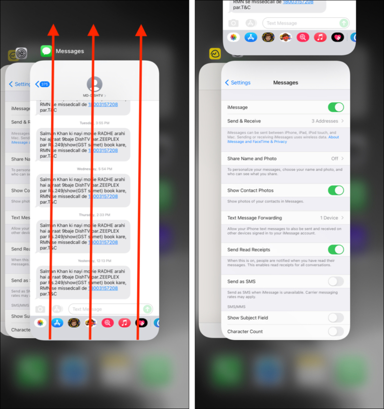 Force quit the Messages app