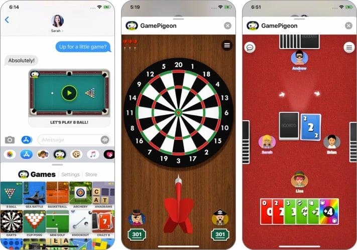Screenshot der Game Pigeon iMessage App