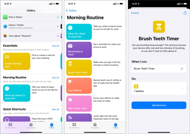 Get shortcuts on iPhone and iPad From shortcuts gallery