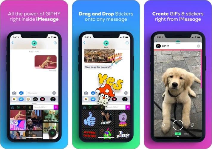 Screenshot der GIPHY iMessage App