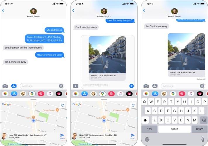 Screenshot der Google Maps iMessage-App