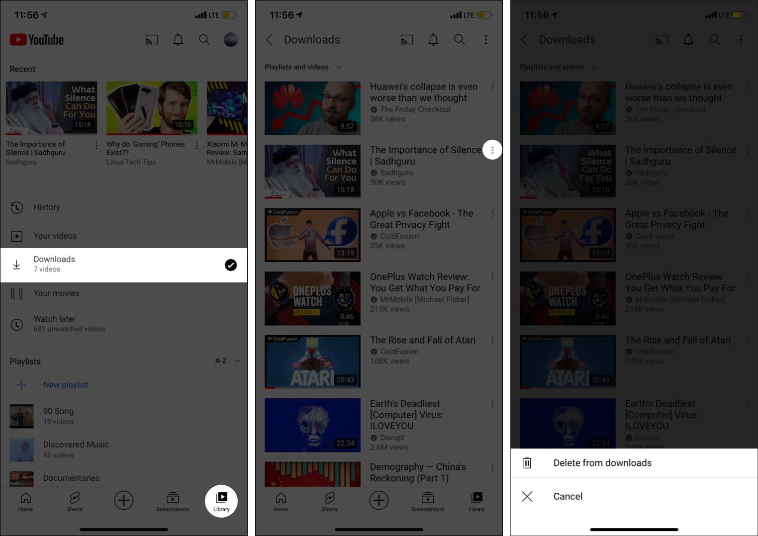 Как удалить офлайн-видео по одному из приложения YouTube