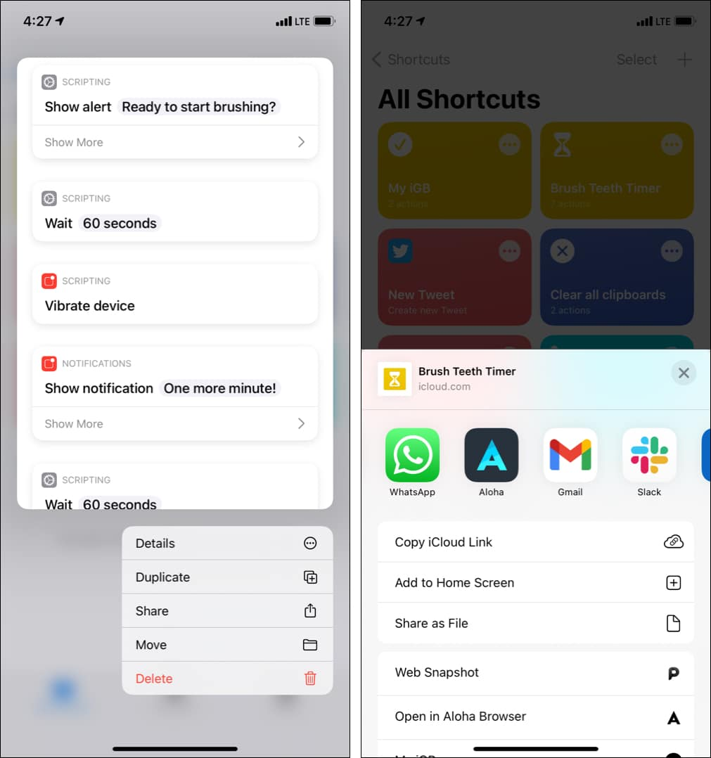 How to share shortcuts with others