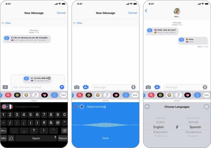 iTranslate iMessage App Screenshot