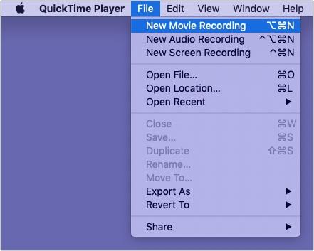Öffnen Sie den QuickTime Player, klicken Sie auf Datei und dann auf Neue Filmaufnahme