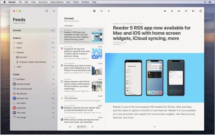 Reeder 5 Mac app screenshot