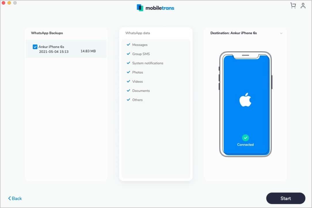 Restore WhatsApp backup to any phone using MobileTrans