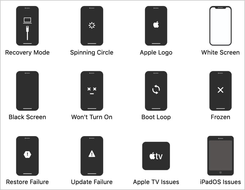 Some iPhone problems FixGo can solve