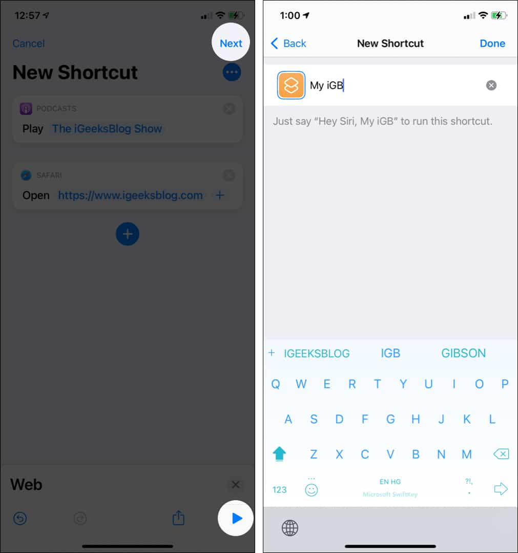 Tap play to test shortcut and then tap Next