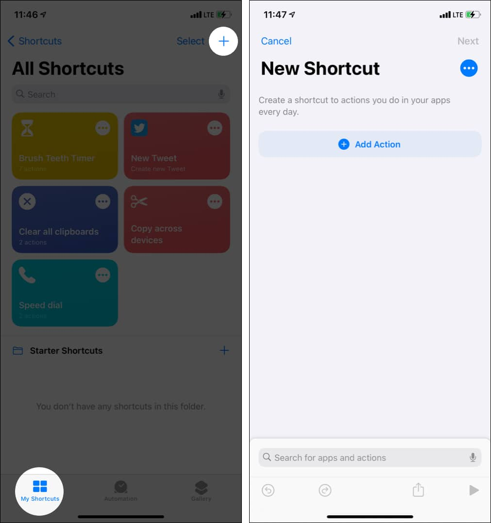 Tap Plus in My Shortcuts and tap Add Action