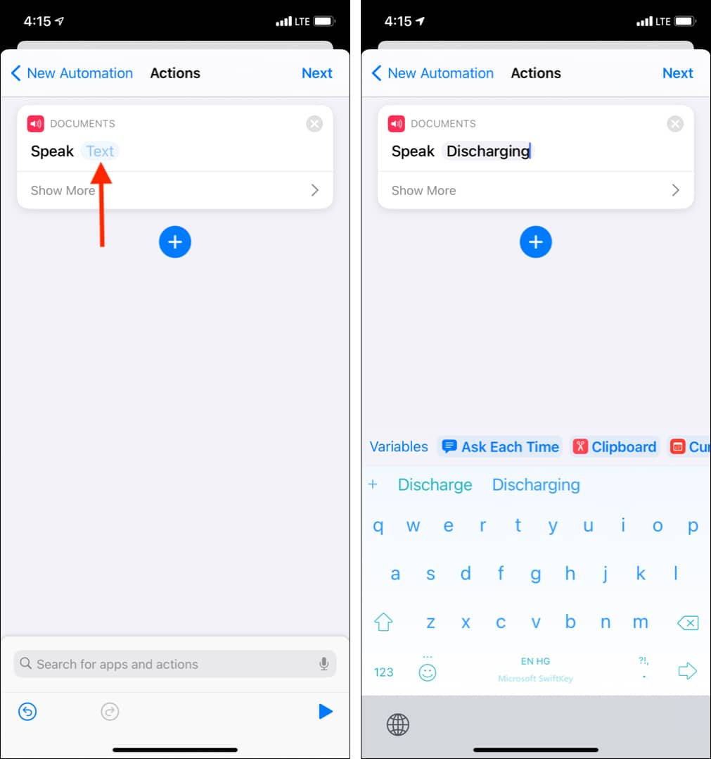 Tap Text and type Discharging