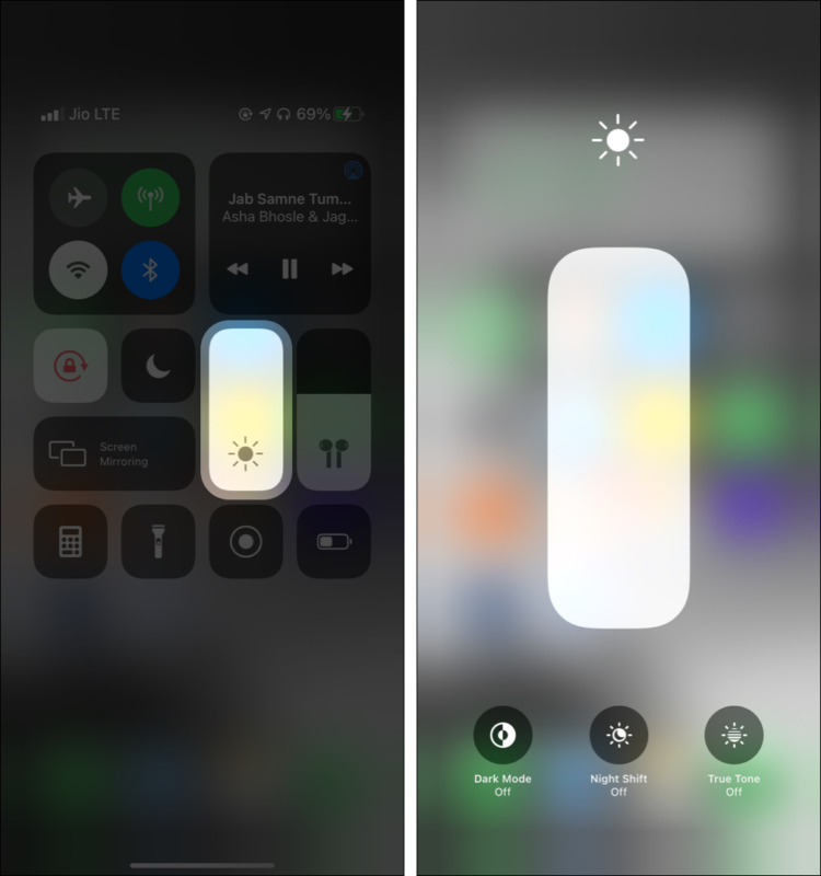 Turn off Dark Mode True Tone and Night Shift using Control Center