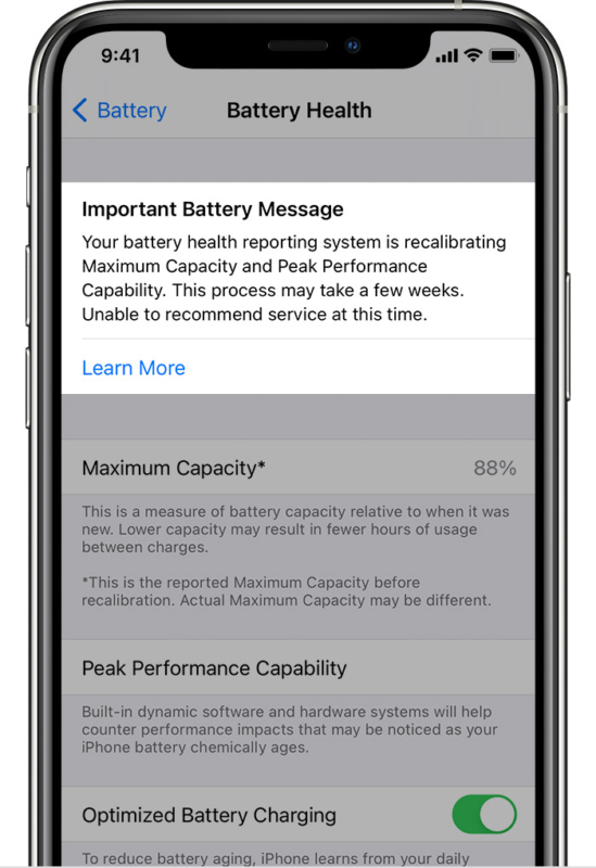 Unable to recommend service Battery Message