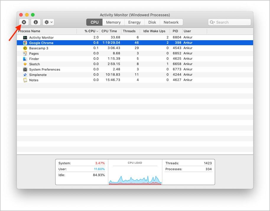 Используйте Activity Monitor, чтобы увидеть, как приложения используют ненужные ресурсы