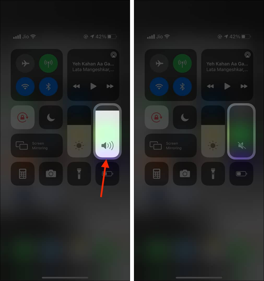 Use Control Center to turn off camera sound