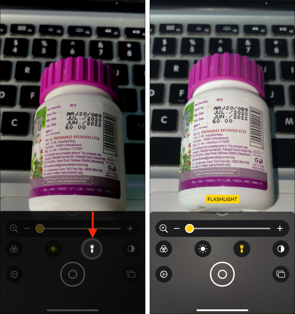 Using Flashlight in iPhone Magnifier