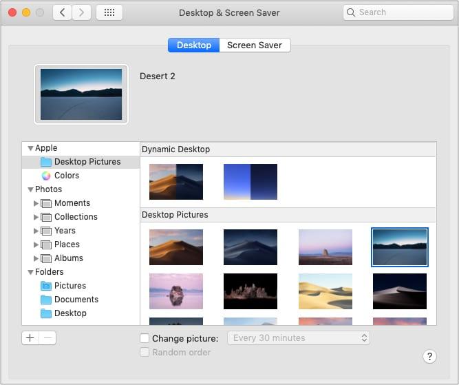 Параметры обоев в настройках рабочего стола и экранной заставки на Mac