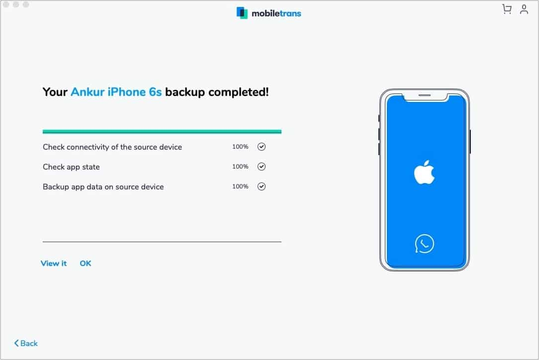 WhatsApp Backup from iPhone to Mac complete