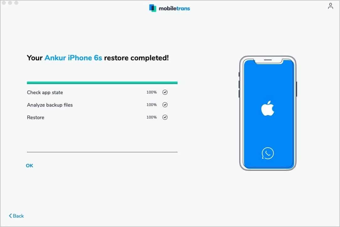WhatsApp Backup Restore complete