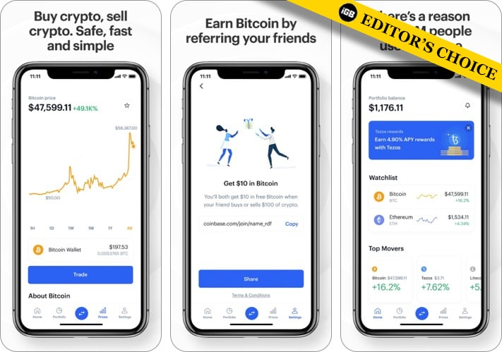 Coinbase best cryptocurrency apps for iPhone screenshot